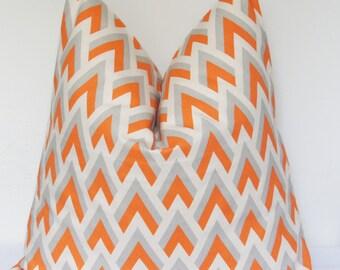 Pillow Cover, Decorative Pillow, Throw Pillow, Toss Pillow, Sofa Pillow, Orange and Gray, Orange Chevron, Geometric Pillow, Home Furnishing
