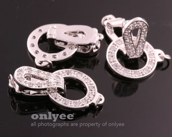 1set-20mmX11.5mmRhodium plated Brass cubic zirconia Clasp Fold over Buckle with Necklace(K811S)