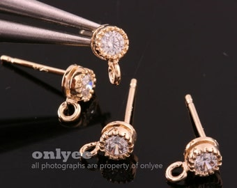 2pair/4pcs-4.5mmX7mmGold Plated over Brass Cubic Zirconia Clear 92.5 sterling silver post Earring(K825G)