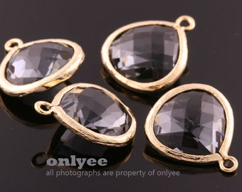 2pcs-18mmX15mmLarge Gold plated Brass Faceted Tear Drop With Glass pendants-Charcoal(M363G-A)