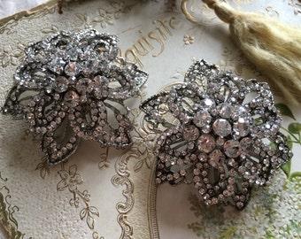 Romantic sparkle flowers wedding Swarovski rhinestone crystal bridal bridesmaids shoes clips, shoes decoration, rhinestone shoe clips