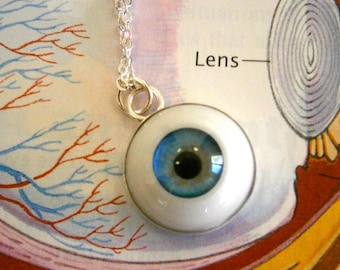 Blue Eyeball Sterling Silver Pendant
