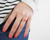 Peach Coral Ring, Sterling Silver Wire Wrapped, Any Size, Gifts for Her