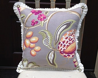Arts & Crafts Style Pillow Featuring Vines and Fruit