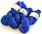 Hand dyed yarn pick your base - Blue Velvet - sw merino cashmere nylon fingering dk worsted