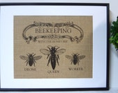 75% OFF SALE Burlap French Country Bee Print