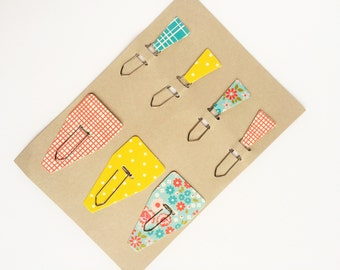 Set of 7 Paperclips / Bookmarks with Flowers Dots Gingham