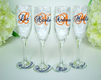 4 Bridesmaid Champagne Gift Flutes - Monogrammed Toasting Flute - Bridesmaid Champagne Glasses - Wedding Party Glasses - Personalized Flute