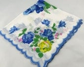 Blue Roses on White Hankie for Collecting, Framing, Sewing, Crafts, Collage    S20