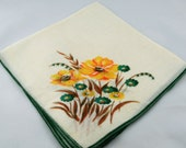 Yellow, Green, White Hankie for Collecting, Framing, Sewing, Crafts, Collage    S19