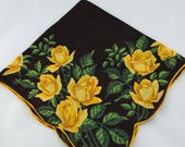 Vintage Hankie Handkerchief,Brown with Yellow Roses, Striking! Great for  Framing, Sewing, Crafts, Collage    G31