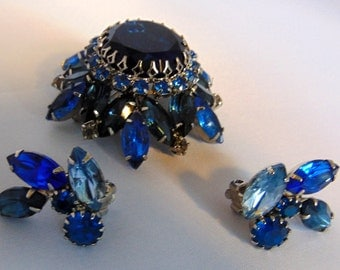 D & E Style, Royal Blue Brooch and Clip Earrings, Prong Set, Stunning