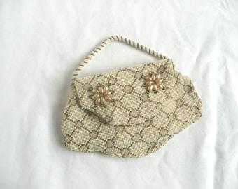 Antique bead purse - antique French bead purse - 1920s bead and rhinestone purse - Art Deco hand beaded purse - hand made bead purse