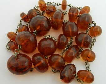 100% Natural Original AMBER Beads Necklace #323S