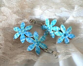 Something blue, Wedding hair clips, Blue hair clips, Blue barrettes, Bride hair accessory, Something blue for bride, Blue clips, Bride clips