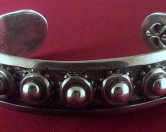 Heavy Rocker Biker Silver Cuff Bracelet for Women by Star Knights.  Handmade  3-D Design to Get You Noticed. Rule the Streets Like a Star!