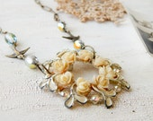 Assemblage necklace / bird assemblage necklace / bird necklace / repurposed necklace / vintage necklace / assemblage jewelry / rose necklace