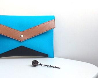 Geometric Blue Brown Black Wool Felt Genuine Leather Clutch Bag