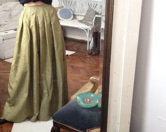 50s brocade maxi pale green skirt / XS / 34 / ball / princess