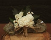 Sola Flower and Ivy Grooms Wedding Boutonniere, Grooms Boutonniere, Sola Flower Boutonniere, Boutonniere, Cream Sola Flower, Dried Flowers