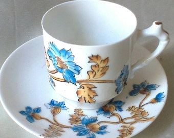 1890 French Hand Decorated Blue Floral Motif Demitasse Cup and Saucer, Hostess Gift, Mothers Day Gift, Fathers Day Gift, Housewarming Gift
