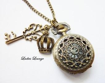 my kingdom - vintage Pocket Watch with key and crown, Steampunk Watch, antique Watch