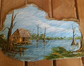 Hand painted slate with a bayou scene