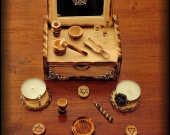Altar set mini BURNED made with wood - pocket portable - customizable - ritual wiccan witch pagan paganism