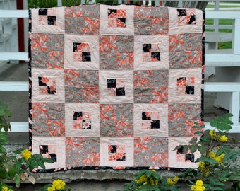 Oranges and Black Baby Quilt 38 by 38