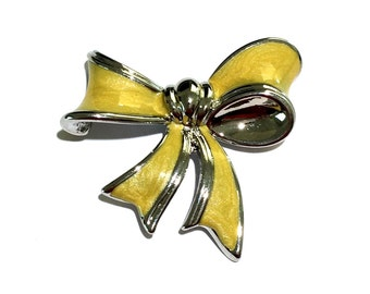 "Vintage Enamel Bow Brooch, 1 3/4"""