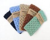 Crochet washcloth - crochet wash cloth - cotton washcloth - men washcloth, blue marine, blue, linen, brown, sea foam