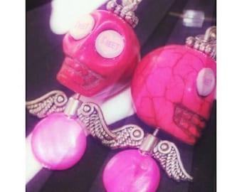 OOAK - Sweet, pink sugar skulls with silver angel wing earrings.  Dangle earrings, women/girls earrings, silver findings