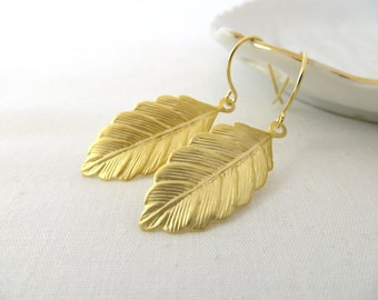 Gold Leaf Earrings - Matte Gold Earrings - Elegant Leaf Earrings - Dangle Earrings