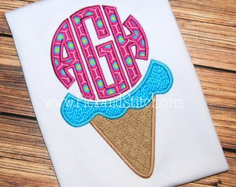 Ice Cream Cone Monogram - summer monogram - Custom Applique Tee 2013