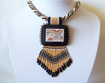 Statement Beadwork Bead Embroidery Pendant Necklace with Mexican Crazy Agate Intarsia - DESERT PICTURE - brown - black - white