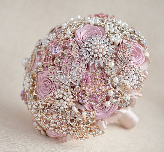 Blush Pink, Ivory and Champagne wedding brooch bouquet