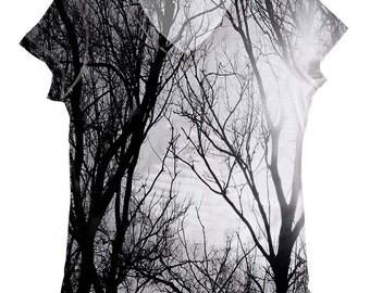 woman scenery print top, t shirt (6-177)  XXS - 3XL size plus size