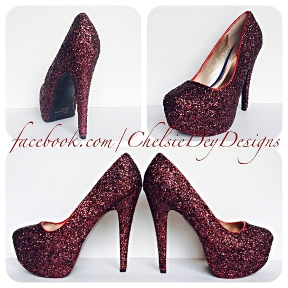 burgundy high heels glitter heels maroon shoes