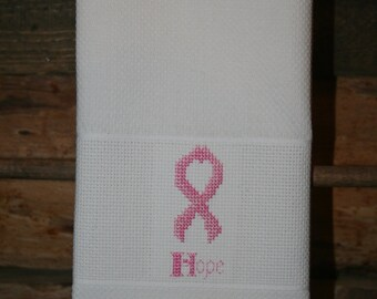 Breast Cancer Ribbon Cross Stitched Huck Towel