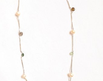 """Tourmaline Briolites with Fresh water pearls on Silver chain (16"""")"""