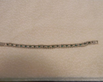 Vintage 3 Strand Silverplate Bracelet with Green Stones
