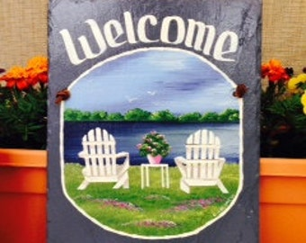 Handpainted Personalized Adirondack Beach Chairs Nautical Slate Welcome Sign