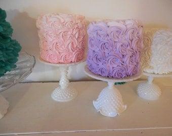 Milk Glass Cake Stand Set / 4 Wedding cake stands / White Dessert stand / Cupcake Stand / Dessert Buffet / Baby Shower cake