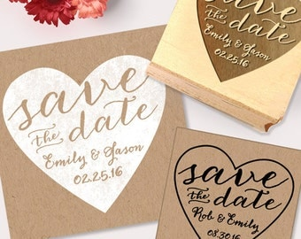 Save the Date Calligraphy Stamp with heart, DIY save the date, make your own save the dates, wedding stamp