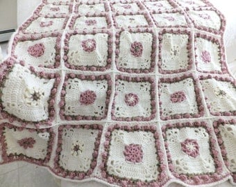 Crochet Rosebud Afghan - Rose Afghan/Throw