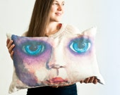 Face of vintage doll in watercolor on scatter cushion