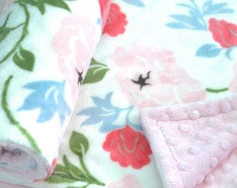 On Sale!**Vintage Flower Minky Baby Blanket-Double Sided Minky Blanket-Baby Girl-Rose Blanket-Baby