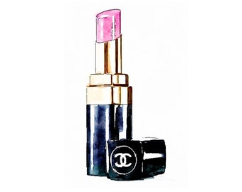 Pink Lipstick Print from Watercolor Painting Fashion Illustration Drawing Fine Art