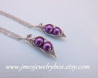 Two peas in a pod best friend necklace set - Dark purple