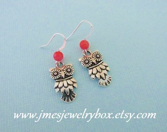 Silver owl earrings with coral beads